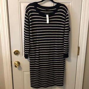 NWT Navy White Striped J.Crew Merino Wool Dress